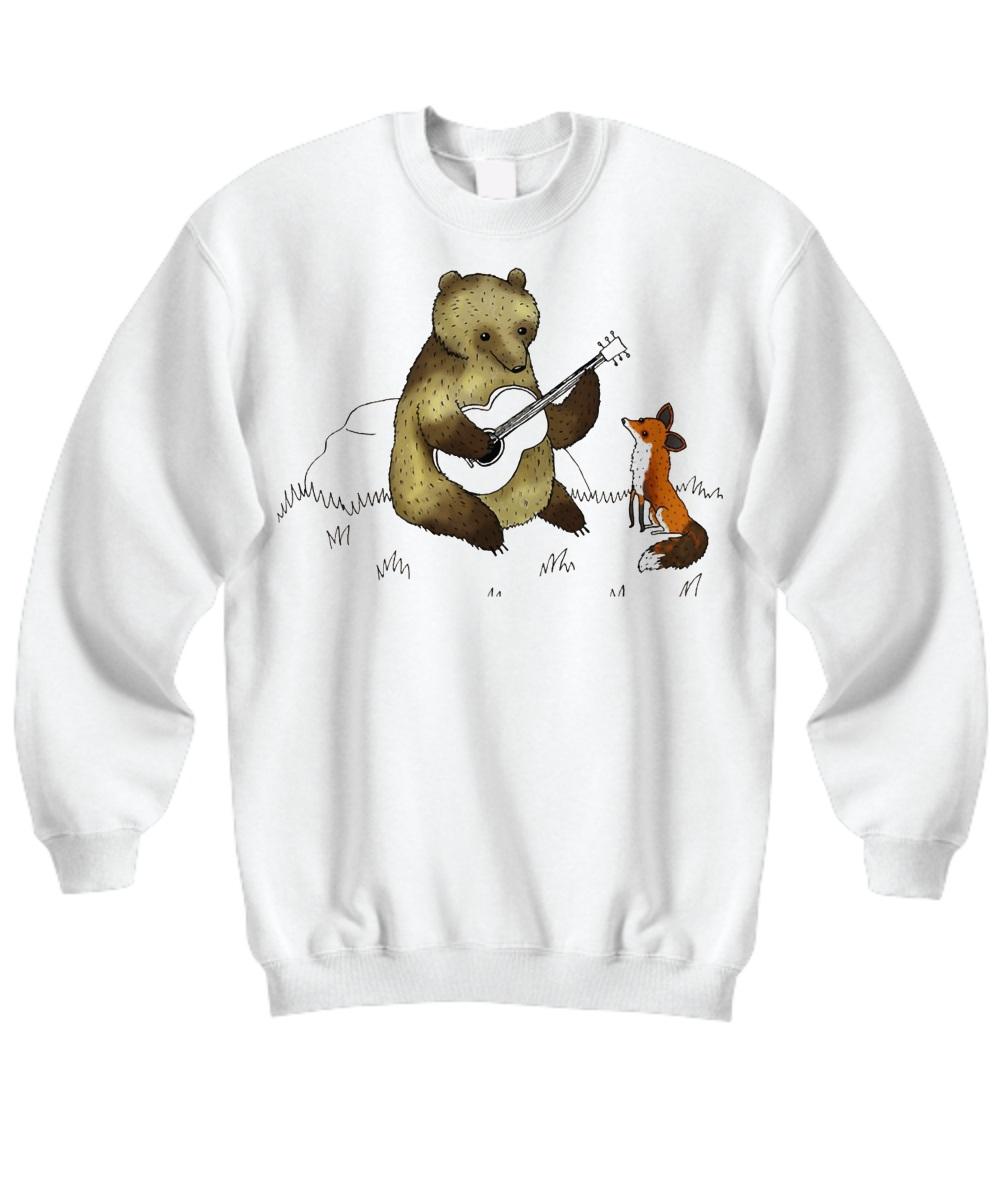 Bear with guitar and fox Sweatshirt