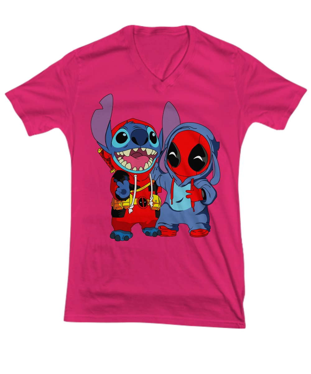Deadpooland baby stitch v-neck tee
