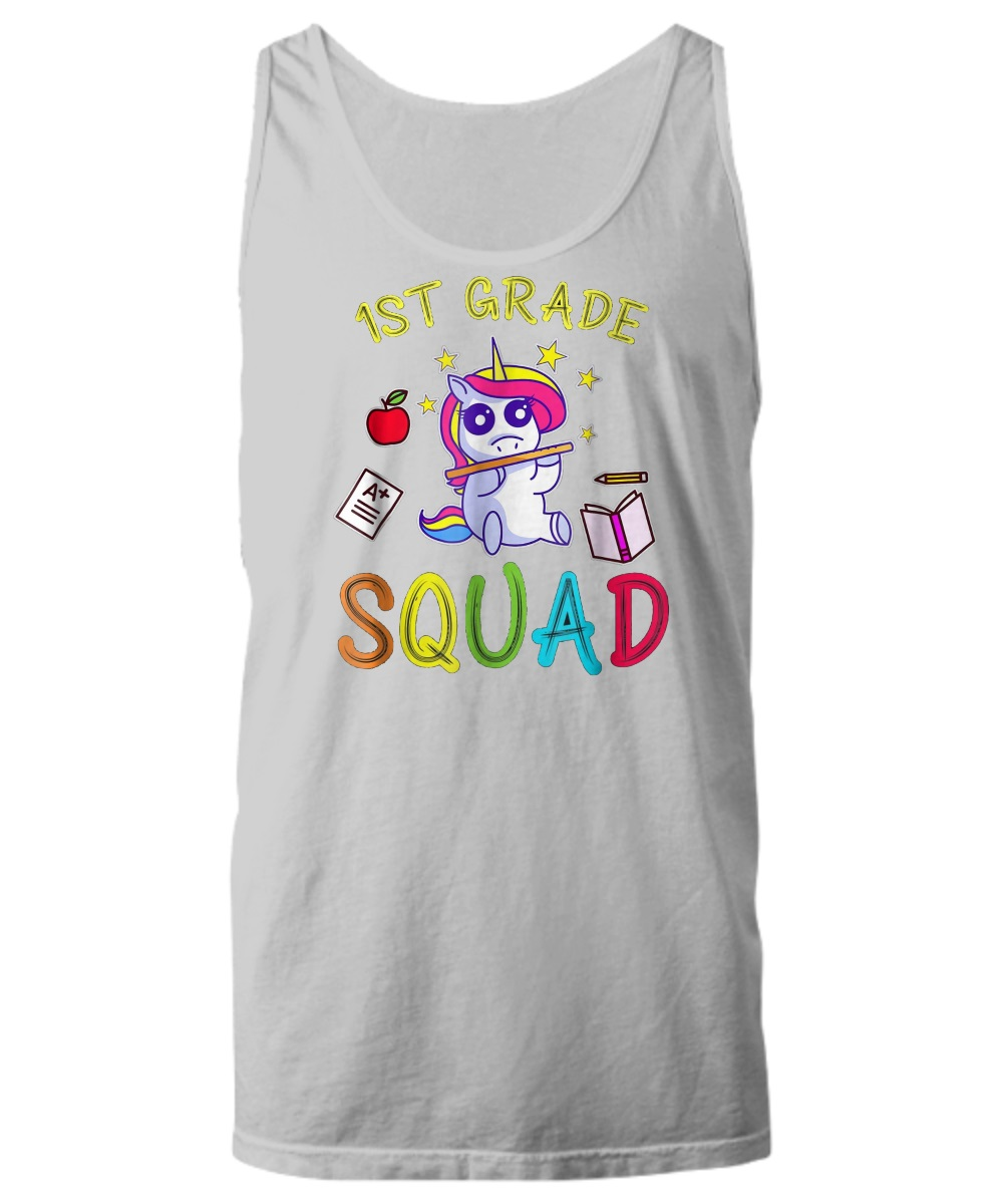 Unicorn 1st grade teacher squad tank top