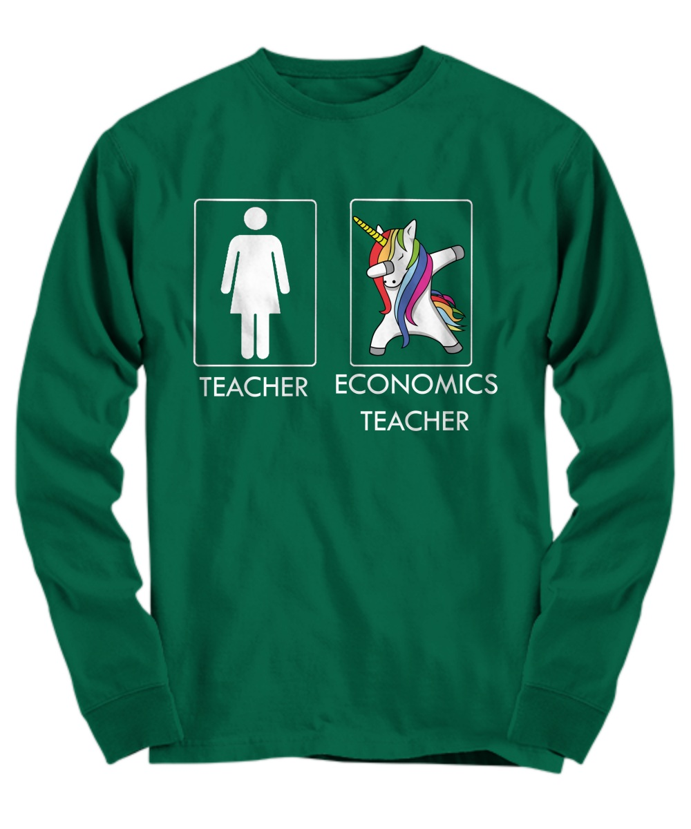 Unicorn dabbing economics teachers Long sleeve