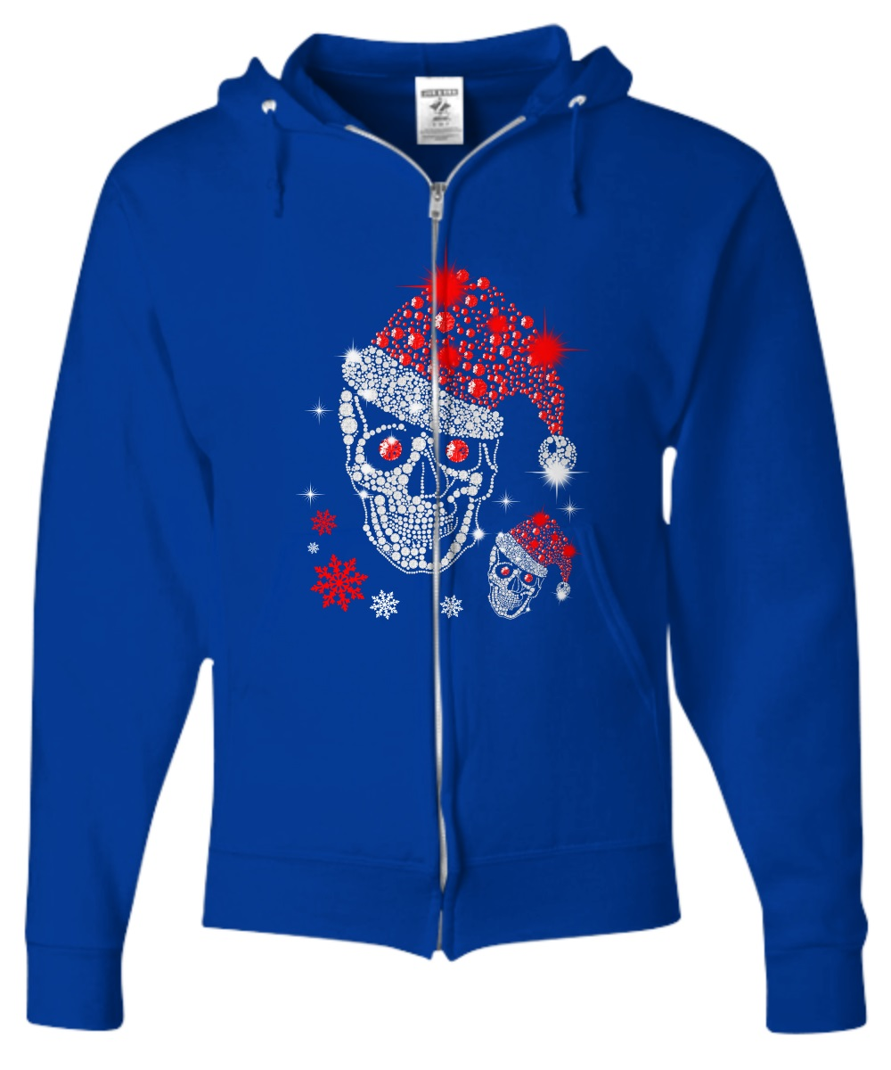 Christmas Rhinestone Smiling Skull zip hoodie