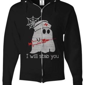 Nurse ghost i will stab you zip hoodie