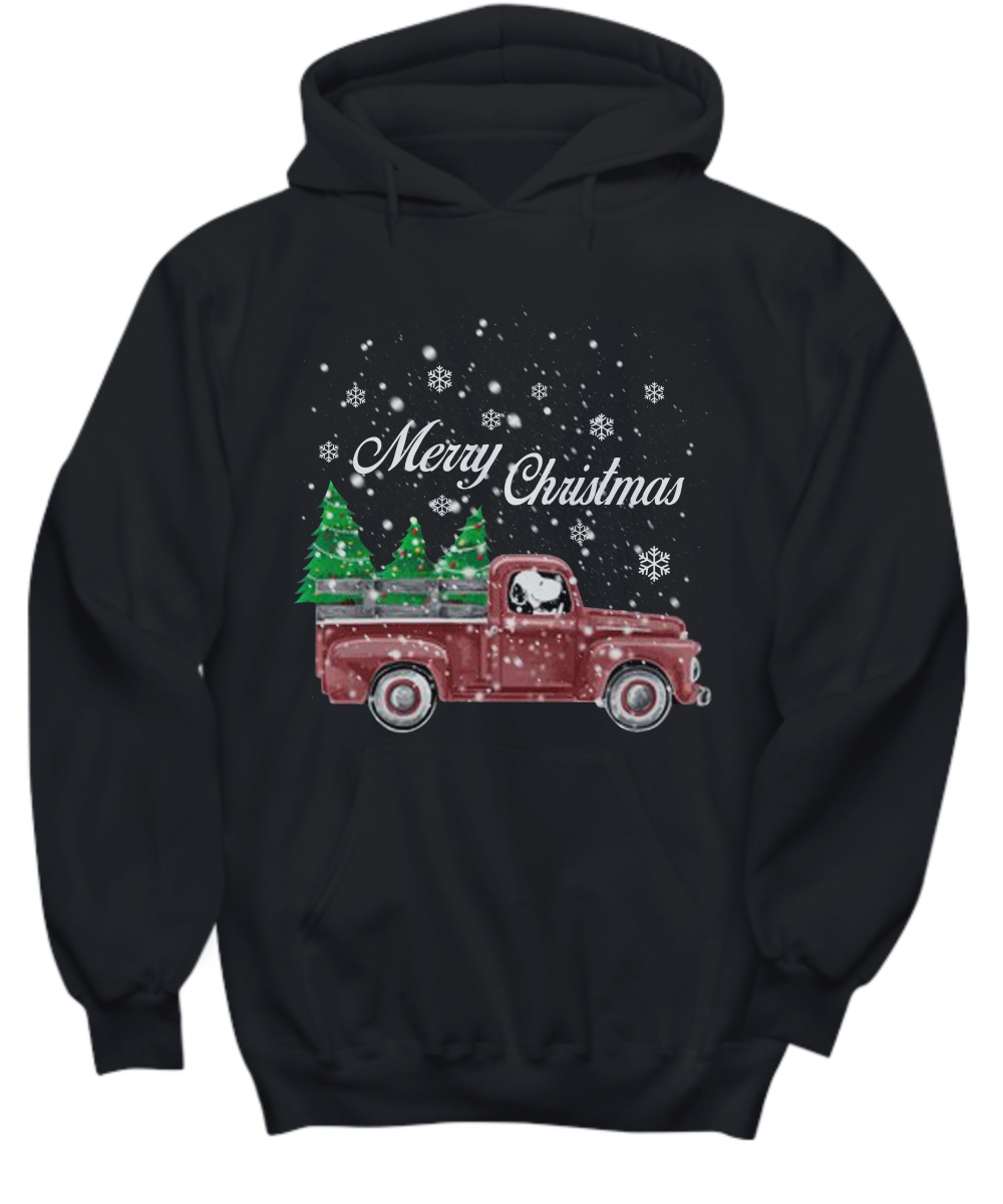 Snoopy drive red truck merry Christmas hoodie