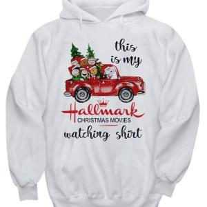 This is my Hallmark Christmas movie watching Snoopy and Peanut hoodie