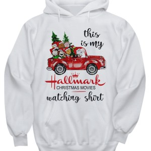 This is my Hallmark Christmas movie watching Snoopy and Peanut hoodie