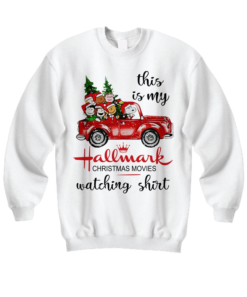 This is my Hallmark Christmas movie watching Snoopy and Peanut sweatshirt