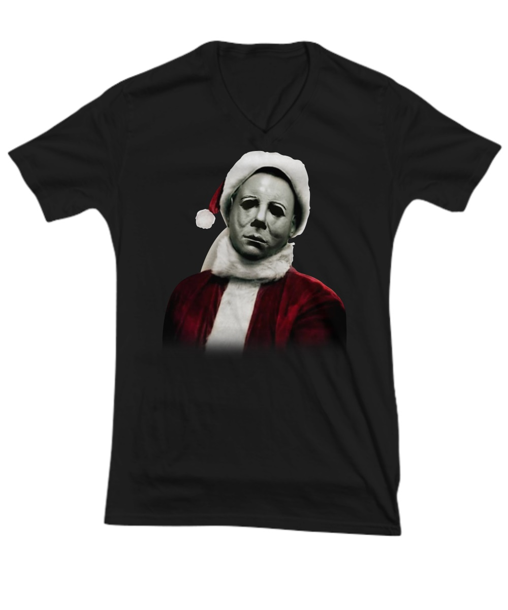 Christmas Michael Myers Santa Hat v-neck
