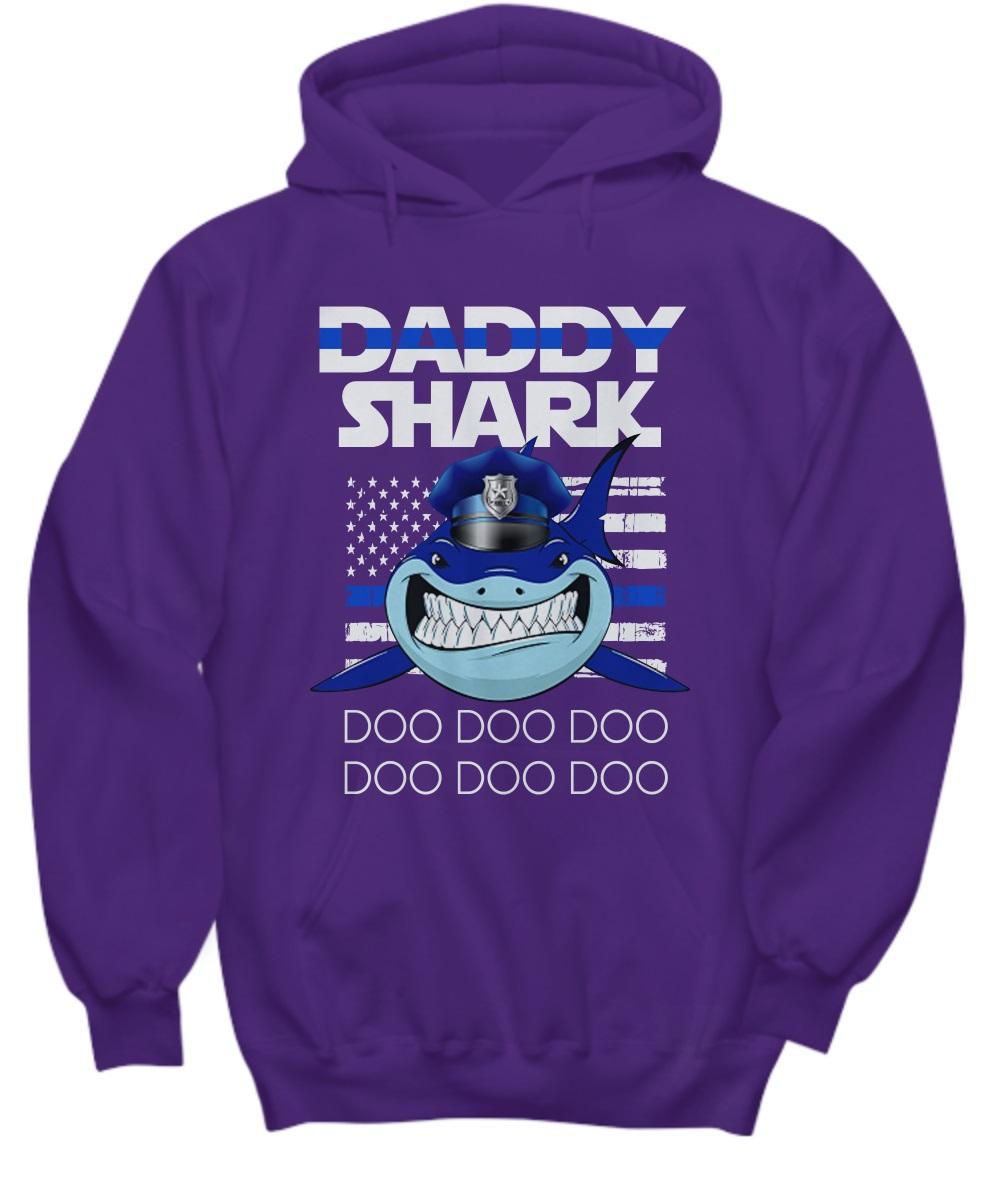 Daddy shark doo doo doo shark police american flag hoodie