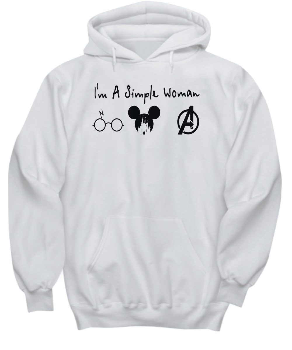 I'm a simple woman who love Harry Potter Disney Avenger hoodie