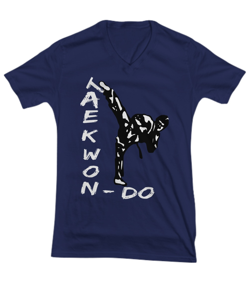 Taekwondo T-Shirt Martial Arts Black Belt Kick V-neck