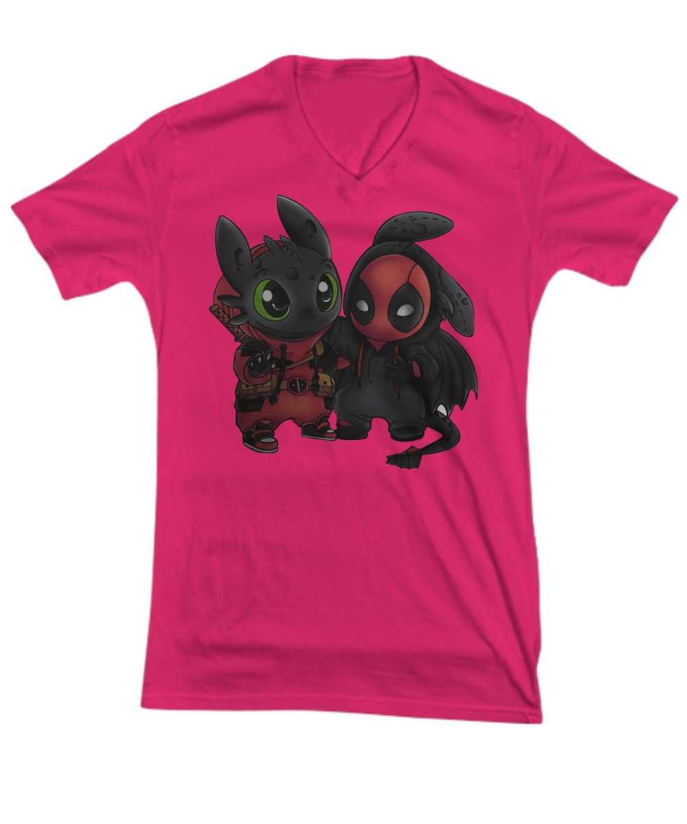Baby deadpool and toothless V-neck Tee