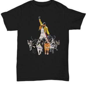 Freddie Mercury walking with his cats shirt