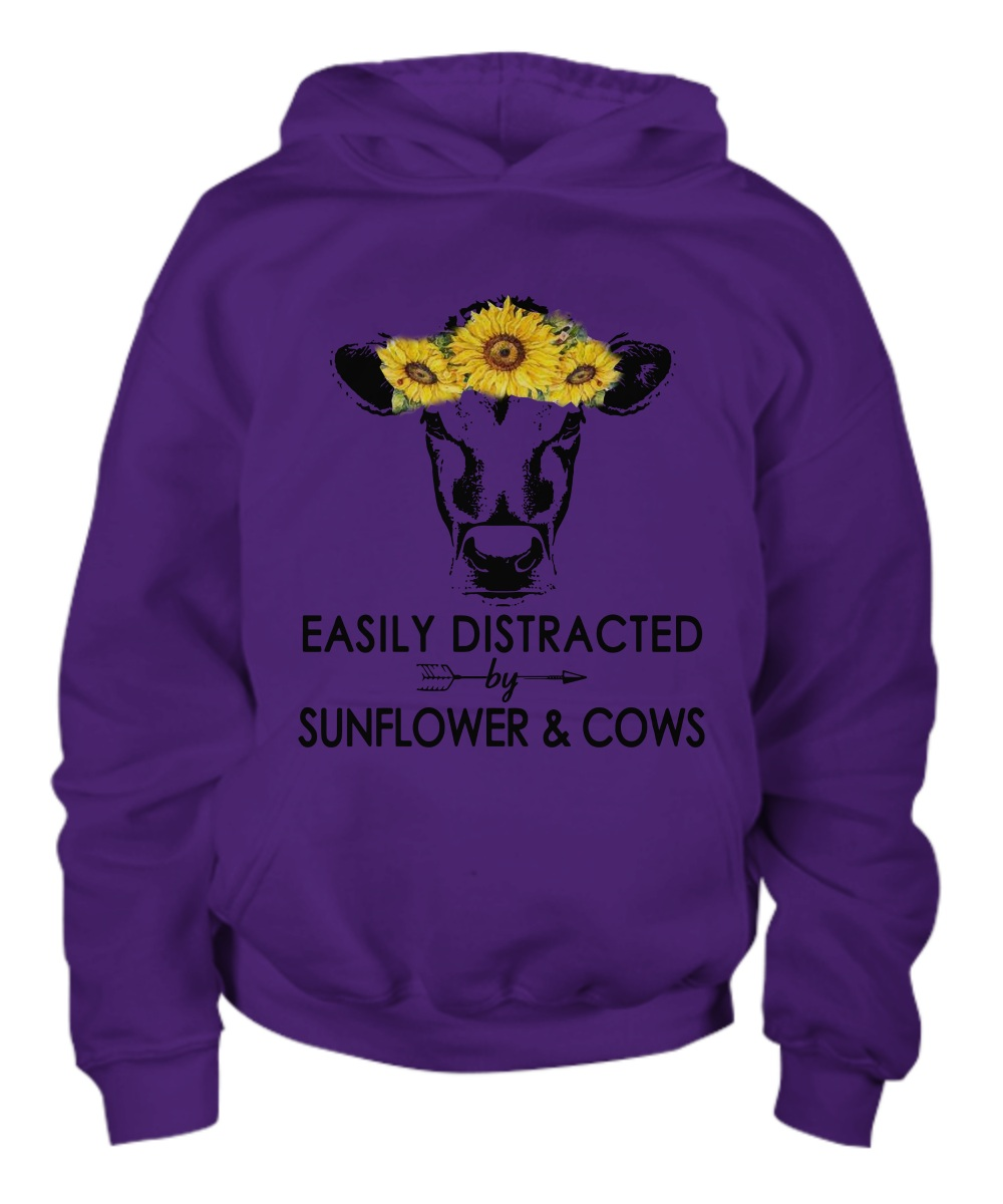 Easily Distracted By Sunflower And Cows Hoodie