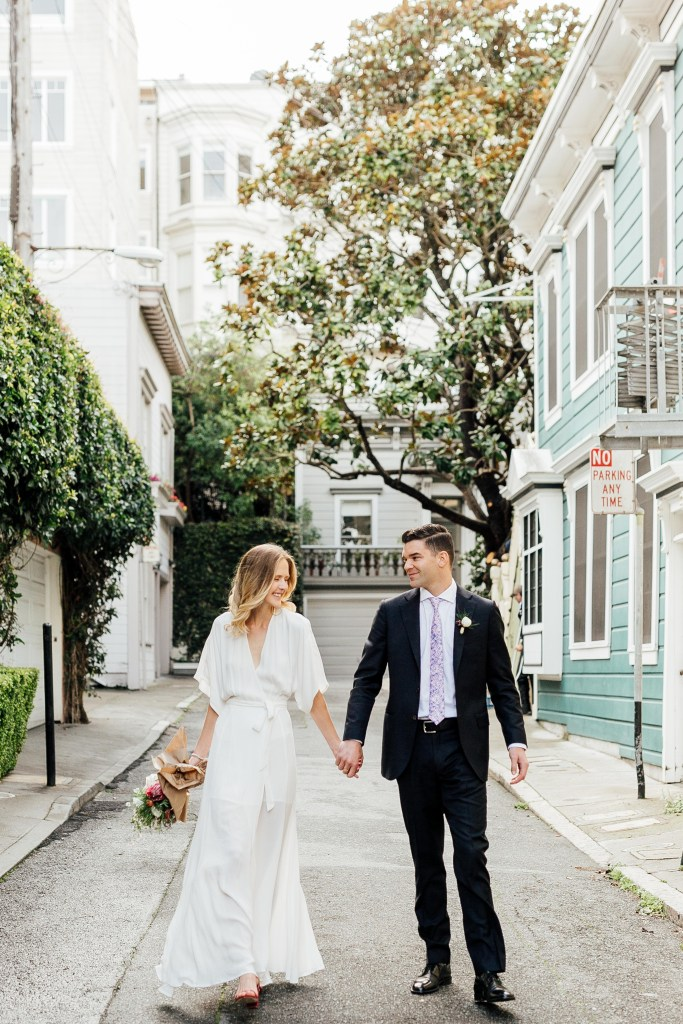 ethically dressed bride and her husband on their wedding day in San Francisco