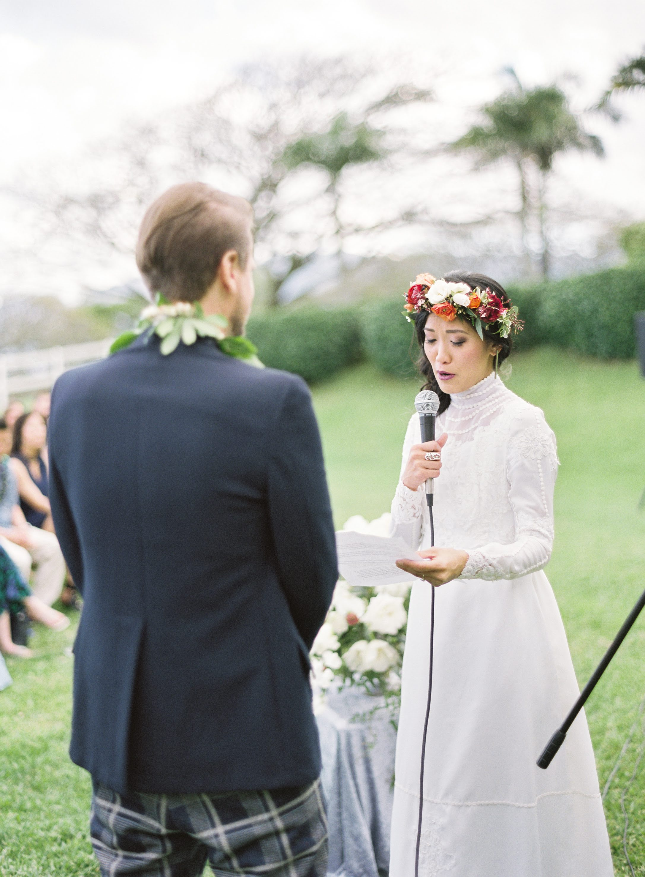 Bride reading vows to her husband