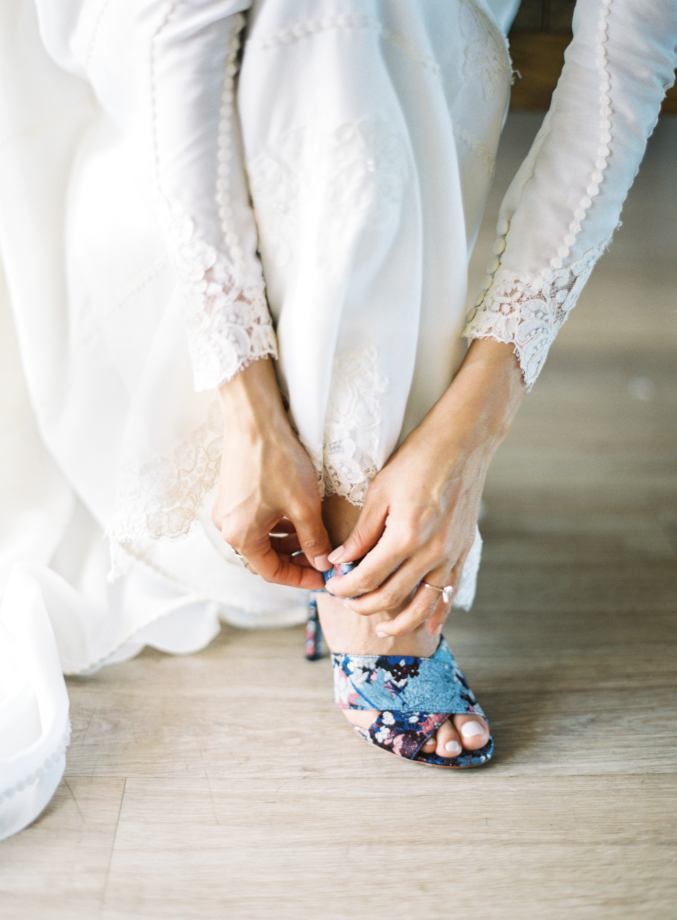 Bride buckles blue shoes