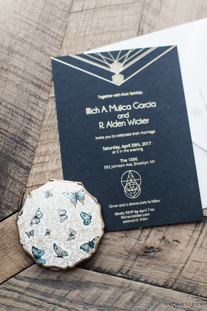 Alden's wedding featured eco-friendly wedding invitations with custom geometric shapes.