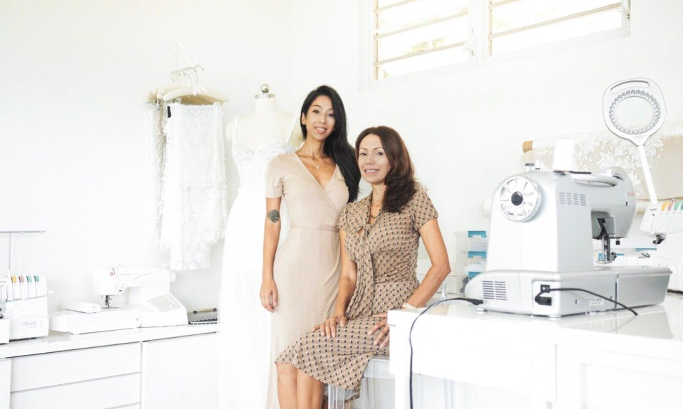 An image of Celeste and Natalie, the creators of ethical wedding dress vendor, Krustallos Couture.