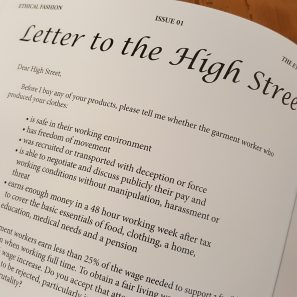 Excerpt from a letter to the high street about garment worker pay and conditions