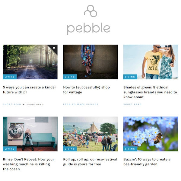 Pebble magazine website page