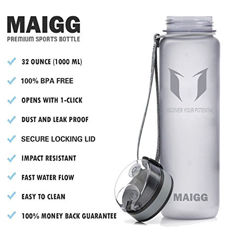 b66091b380 MAIGG Best Sports Water Bottle- 32oz – Eco Friendly & BPA-Free ...