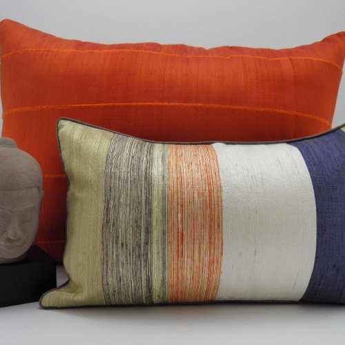 Coussin Nuance - Soie Sauvage - 45x27cm + Soie Sauvage Orange 70x50cm