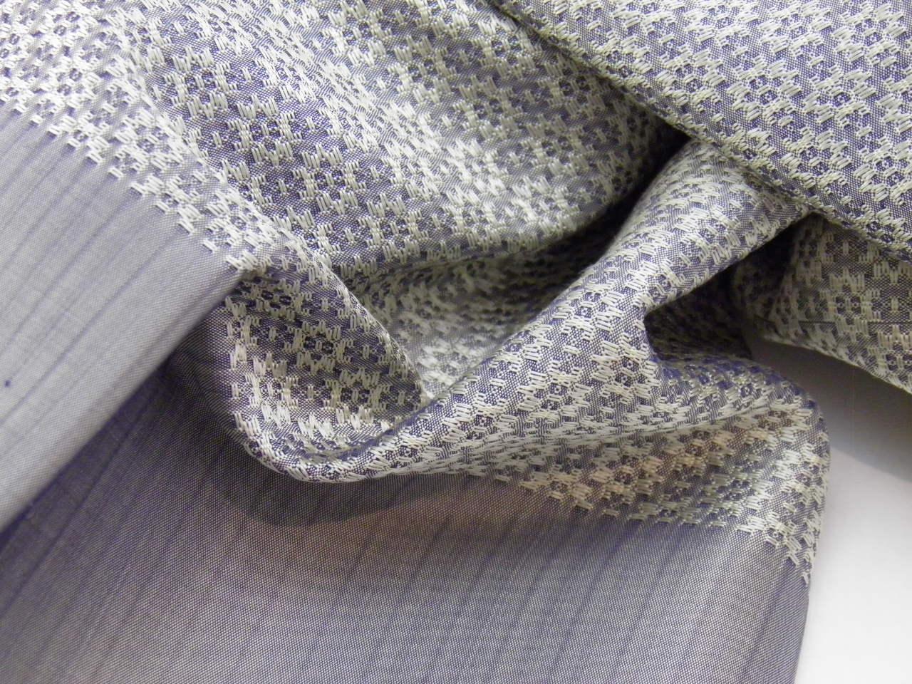 Jasmine Shawl - Silk Brocade - Silver - Detail
