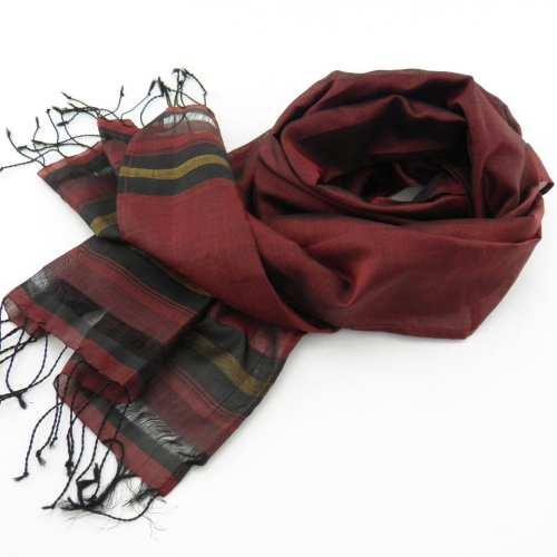 Fair Trade Essential Scarf - Striped Black-Gold - Burgundy