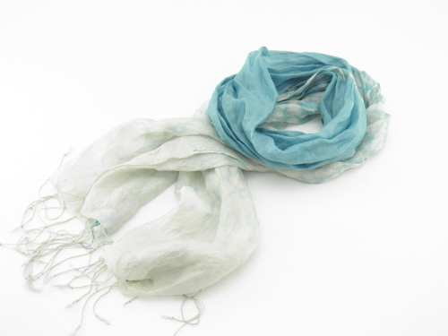 Foulard Organza Souple - Effet Délavé Aux Extrémités - Bleu Pâle