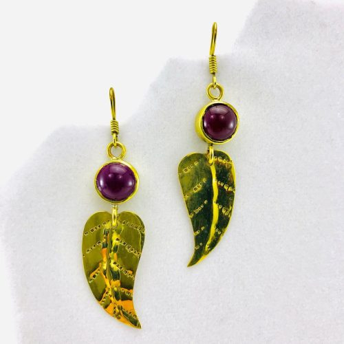 Feather Earrings And Natural Stone - Red