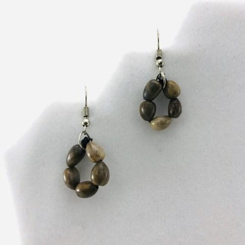 Flower Earrings - Natural Seeds Earrings - Brown