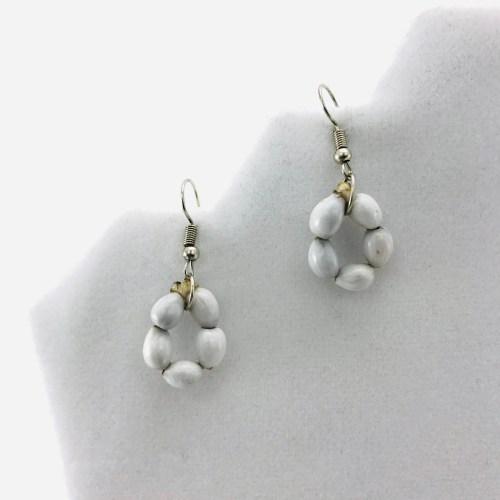 Flower Earrings - Natural Seeds Earrings - White