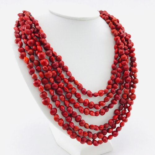 Le Collier 6 Rangs - Graines Naturelles - Rouge