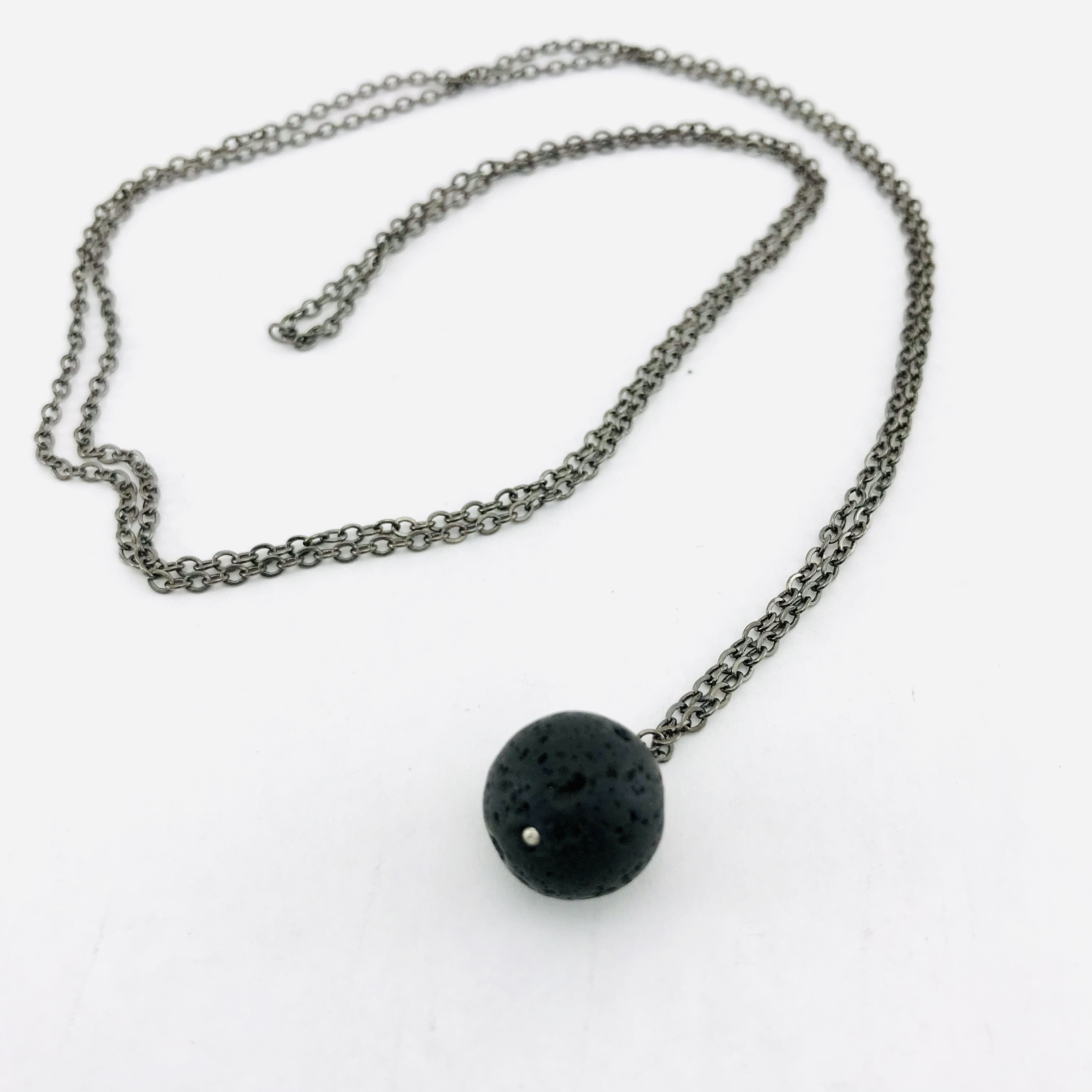 The Natural Round Lava Stone Necklace