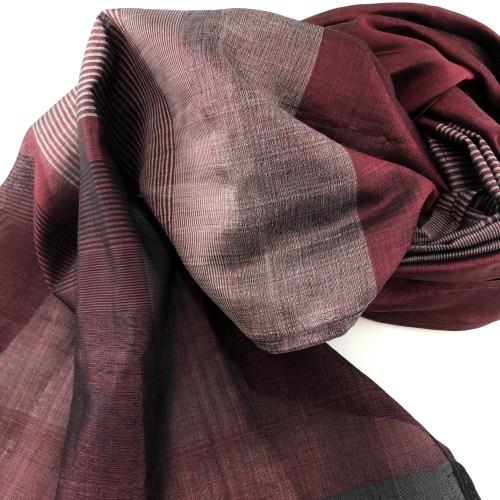 Burgundy Scarf – Silver Stripes – Essential