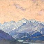 Река Чандра. 1932 Chandra River Холст на картоне, темпера. 26,3 x 42,5