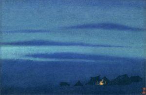 Картина Н.К.Рериха. Тибетский стан. [Костры ночью] 1944