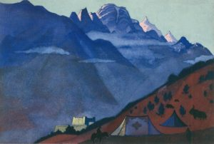 Картина Н.К.Рериха. Лахуль. [Тибетский стан. Кейланг] 1932