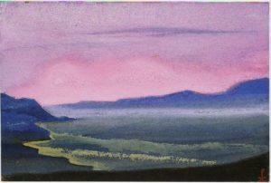 Картина Н.К.Рериха. Тибет [Тибет [Игра цвета], [Оранжевая гора] ] 1942