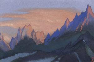 Картина Н.К.Рериха. Тибет [Пылающий закат] 1945