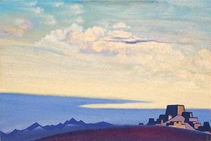 Картина Н.К.Рериха. Тибет. Вечер 1937