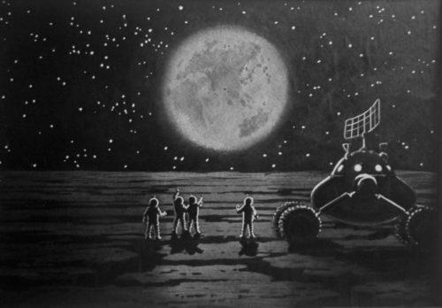 Вездеход на луне. Рисунок Алексея Леонова и Андрея Соколова. РИА Новости