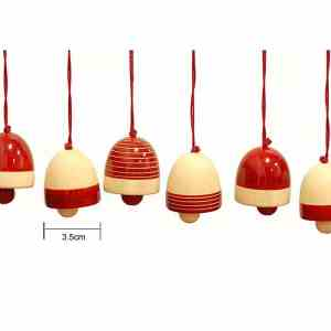 red wooden bells decorations sold by Ethiqana a shop specialising in eco friendly products, earth friendly products and sustainable products.