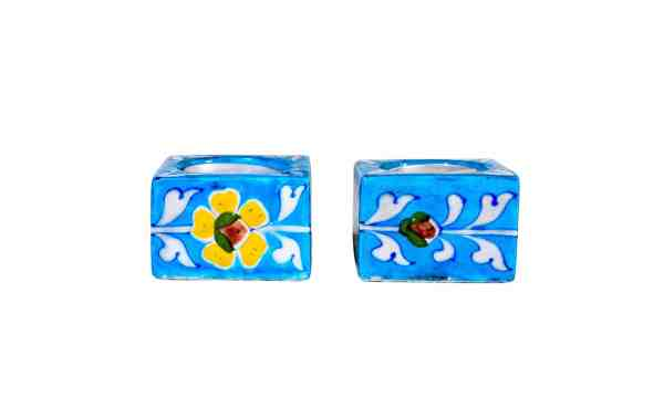 handmade blue potery tealight holder sold by Ethiqana a shop specialising in eco friendly products, earth friendly products and sustainable products.