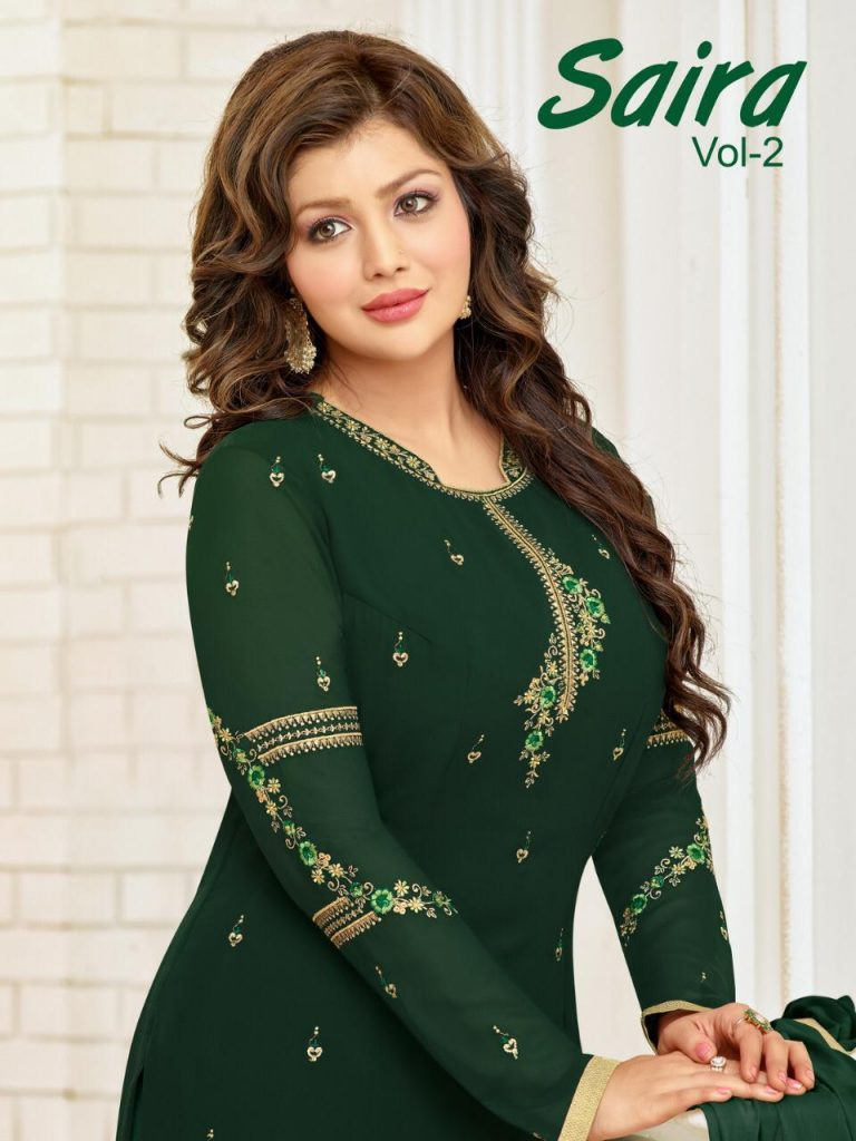 68f1bc8cf4 Download Image Zip · Download PDF. MF Saira Vol 2 Faux Georgette with  Embroidery Work Straight Dress ...