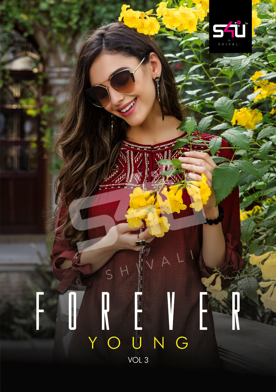 8897bf86dd Download Image Zip · Download PDF. S4U Shivali Forever Young Vol 3 Designer  Embroidered Fancy Fabric Readymade Short Tops Collection
