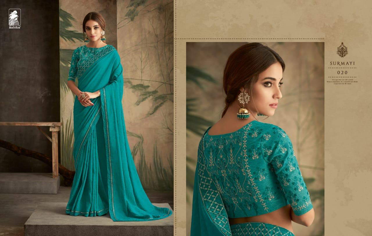 2484b2d724 Download Image Zip · Download PDF. Sahiba Surmayi Designer Fancy Fabric  Party Wear Sarees Collection at Wholesale Rate