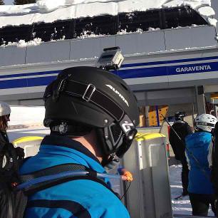 Go Pro helmet in the Swiss Alps