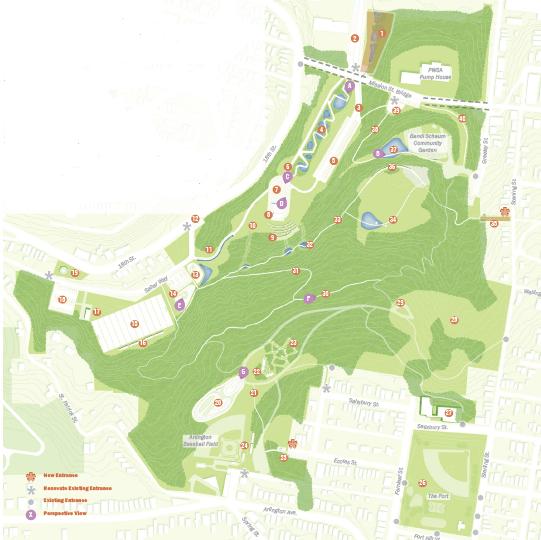Plan image showing conceptual design of Southside Park