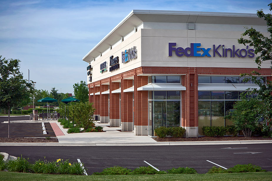 New Construction Retail Shopping Center exterior side view, Bolingbrook
